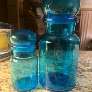 Vintage Belgian Bubble Top Glass Jars
